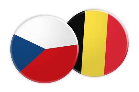 News Concept: Czech Republic Flag Button On Belgium Flag Button, 3d illustration on white background