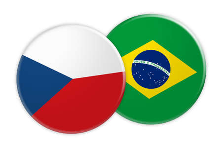 News Concept: Czech Republic Flag Button On Brazil Flag Button, 3d illustration on white background Stock Photo