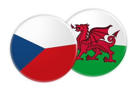 Concetto di notizie: Bottone della bandiera della Repubblica ceca sul bottone della bandiera di Galles, illustrazione 3d su fondo bianco
