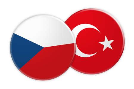 News Concept: Czech Republic Flag Button On Turkey Flag Button, 3d illustration on white background