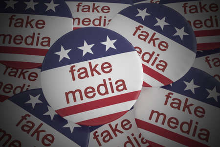 hoax: USA Politics News Badge: Pile of Fake Media Buttons With US Flag, 3d illustration