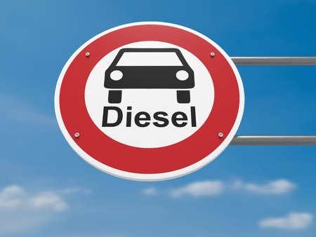 ドイツのトラフィック サイン環境保護概念: ディーゼル車禁止運転禁止、3 d イラストレーション