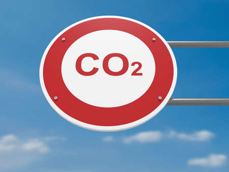 German Traffic Sign Environmental Protection Concept: CO2 Carbon Dioxide Prohibited, Driving Ban, 3d illustration Stock Photo