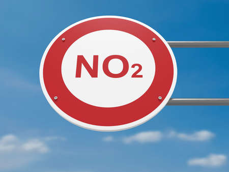 German Traffic Sign Environmental Protection Concept: NO2 Carbon Dioxide Prohibited, Driving Ban, 3d illustration Stock Photo