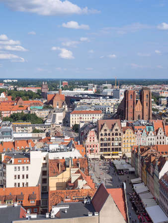 passerby: WROCLAW, POLAND - AUGUST 14, 2017: Aerial View of Rynek Market Square In Wroclaw
