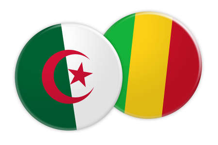 News Concept: Algeria Flag Button On Mali Flag Button, 3d illustration on white background