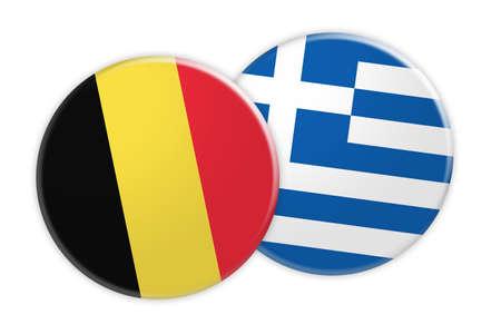 News Concept: Belgium Flag Button On Greece Flag Button, 3d illustration on white background
