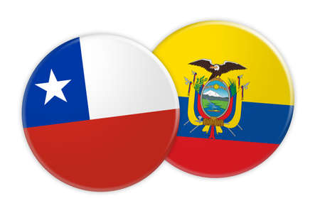 News Concept: Chile Flag Button On Ecuador Flag Button, 3d illustration on white background