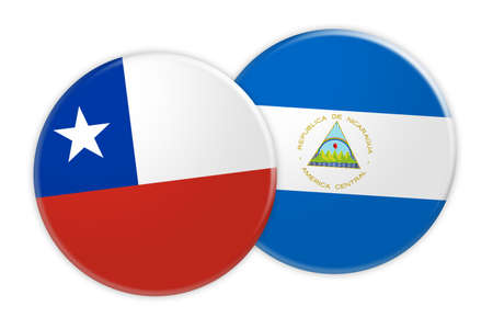 News Concept: Chile Flag Button On Nicaragua Flag Button, 3d illustration on white background