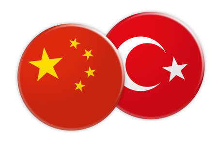 News Concept: China Flag Button On Turkey Flag Button, 3d illustration on white background