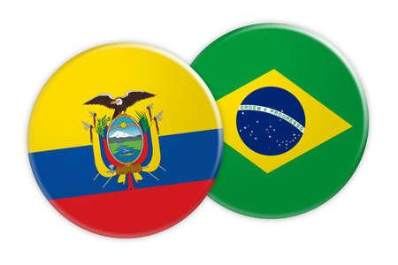 News Concept: Ecuador Flag Button On Brazil Flag Button, 3d illustration on white background