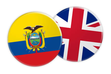 News Concept: Ecuador Flag Button On UK Flag Button, 3d illustration on white background Stock Photo