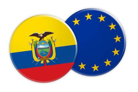 trade union: News Concept: Ecuador Flag Button On EU Flag Button, 3d illustration on white background Stock Photo