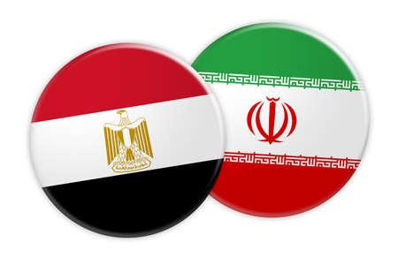 News Concept: Egypt Flag Button On Iran Flag Button, 3d illustration on white background Stock Photo