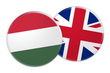 great: News Concept: Hungary Flag Button On UK Flag Button, 3d illustration on white background
