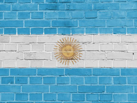 Argentina Politics Concept: Argentine Flag Wall Background Texture