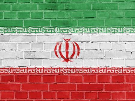 Iran Politics Concept: Iranian Flag Wall Background Texture