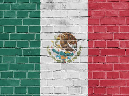 Mexico Politics Concept: Mexican Flag Wall Background Texture Stock Photo