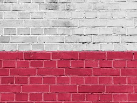 Poland Politics Concept: Polish Flag Wall Background Texture Banco de Imagens