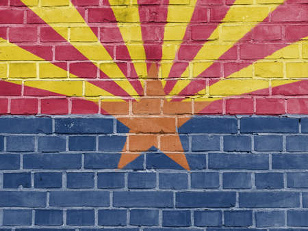 US States Concept: Arizona Flag Wall Background Texture Stock Photo