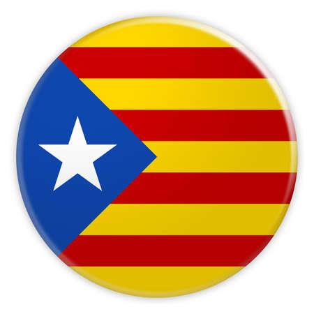 Botón de bandera de separatismo catalán de Estelada Blava, insignia de concepto de noticias de independencia de Cataluña, ilustración 3d sobre fondo blanco Foto de archivo
