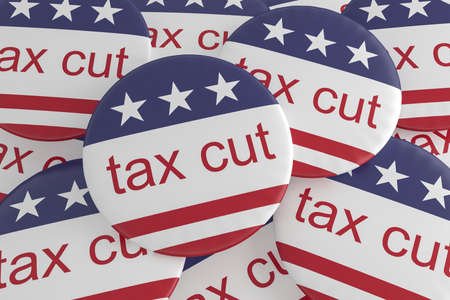 USA Politics News Badge: Pile of Tax Cut Buttons With US Flag, 3d illustration