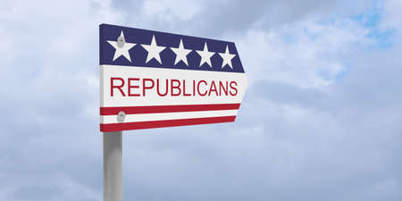 USA Politics Party Concept: Republicans Direction Sign With US Flag, 3d illustration against cloudy sky