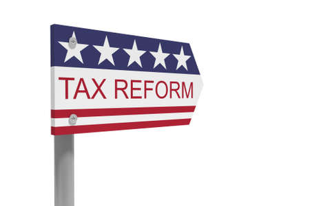 USA Politics Concept: Tax Reform Direction Sign With US Flag, 3d illustration isolated on white background Banco de Imagens