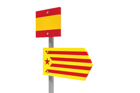 Spain Catalonia Independence Movement Concept: Catalan Estelada Flag Direction Sign, 3d illustration isolated on white background