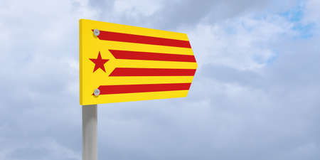 Spain Catalonia Independence Movement Concept: Catalan Estelada Flag Direction Sign, 3d illustration against cloudy sky