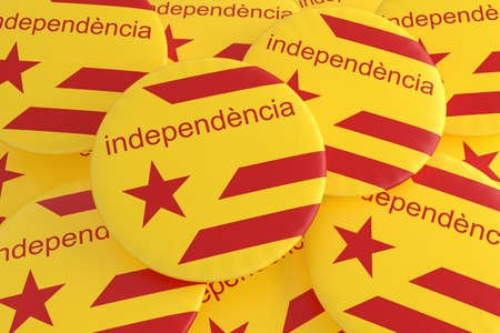 Spain Catalonia Independence Movement Concept: Estelada Flag Badges With Word Independence In Catalan Language, 3d illustration