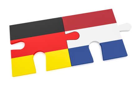Duitsland Nederland Partnershipconcept: Duitse Vlag en Nederlandse Vlagraadselstukken, 3d illustratie die op witte achtergrond wordt geïsoleerd