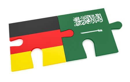 Duitsland Saoedi-Arabië partnerschap Concept: Duitse vlag en Saoedische Arabische puzzel stukjes, 3d illustratie geïsoleerd op een witte achtergrond