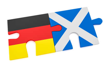 Germany Scotland Partnership Concept: German Flag And Scottish Flag Puzzle Pieces, 3d illustration isolated on white background