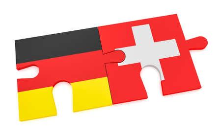 ドイツのスイス連邦共和国のパートナーシップの概念: ドイツ フラグとスイス国旗パズルのピース、白い背景で隔離の 3 d 図