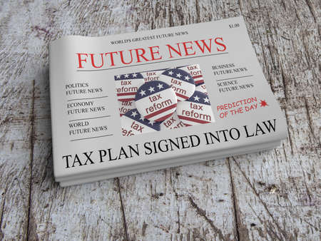 Future News US Tax Reform Newspaper Concept: Vision - USA Tax Plan Signed Into Law, 3d illustration Stock Photo