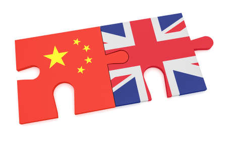 China Great Britain Partnership Concept: Chinese Flag And UK Flag Puzzle Pieces, 3d illustration isolated on white background Stock Photo