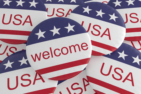 US Politics Or Tourism Concept Buttons: Welcome To The USA Flag Badges, 3d illustration