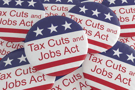 USA Politics News Badges: Pile of Tax Cuts And Jobs Act Buttons With US Flag, 3d illustration Foto de archivo