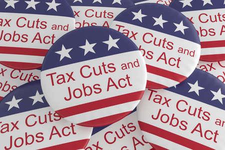 USA-Politik-Nachrichten-Abzeichen: Stapel von Steuersenkungen und von Jobs handeln Knöpfe mit US-Flagge, Illustration 3d Standard-Bild - 92048955
