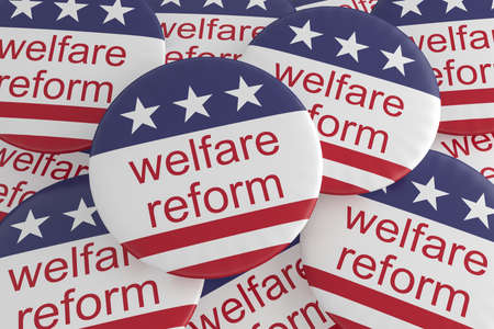 USA Politics News Badges: Pile of Welfare Reform Buttons With US Flag, 3d illustration