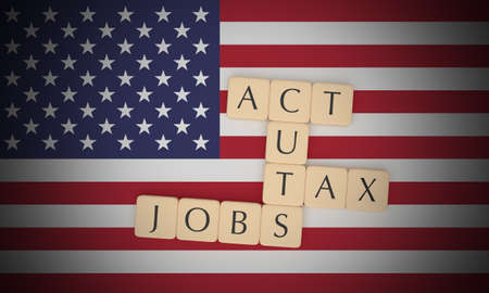 USA Politics News Concept: Letter Tiles Tax Cuts And Jobs Act On US Flag, 3d illustration Stock Photo