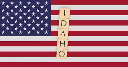 米国の州の概念:米国の旗にアイダホの手紙タイル、3Dイラスト