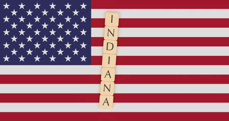 US States Concept: Letter Tiles Indiana On USA Flag, 3d illustration