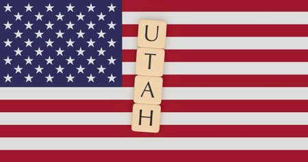 US States Concept: Letter Tiles Utah On USA Flag, 3d illustration