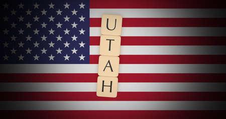 US States Concept: Letter Tiles Utah On USA Flag, 3d illustration 版權商用圖片 - 94373328