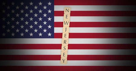 US States Concept: Letter Tiles New Jersey On USA Flag, 3d illustration