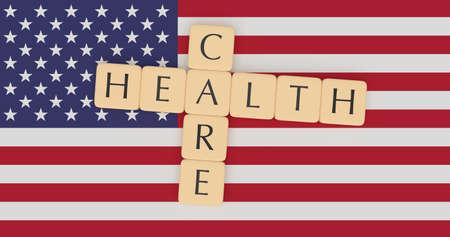 USA Politics News Concept: Letter Tiles Health Care On US Flag, 3d illustration
