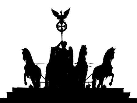 Silhouette Of The Quadriga of Brandenburg Gate In Berlin, Germany, Black And White