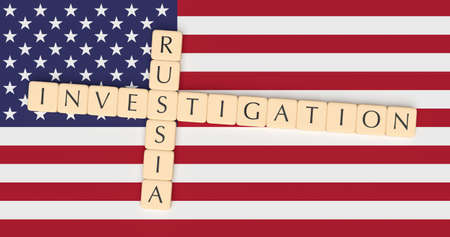 USA Politics Concept: Letter Tiles Russia Investigation On US Flag, 3d illustration Stock Photo